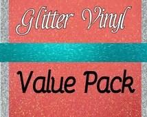 Glitter Vinyl 6 Sheet Value Pack - FDC 3700, GT Ultra Metallic Vinyl, Oracal 651 Vinyl Equivalent Permanent Outdoor Glitter Vinyl, 26 Colors