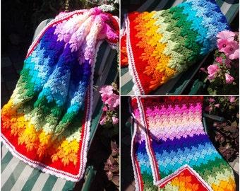 Crochet Baby Blanket Rainbow 35 х 35 Inches Rainbow Baby Gift Rainbow Blanket Crochet Baby Afghan Rainbow Baby Gift Baby shower gift cover