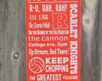 Rutgers University Typography Hand painted Subway Art Sign