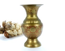 Vintage Etched Brass Vase - Vintage Brass Indian Vase - Brass flower vase - Vintage Brass Vase - Brass Pedestal Vase - Indian Brass Decor