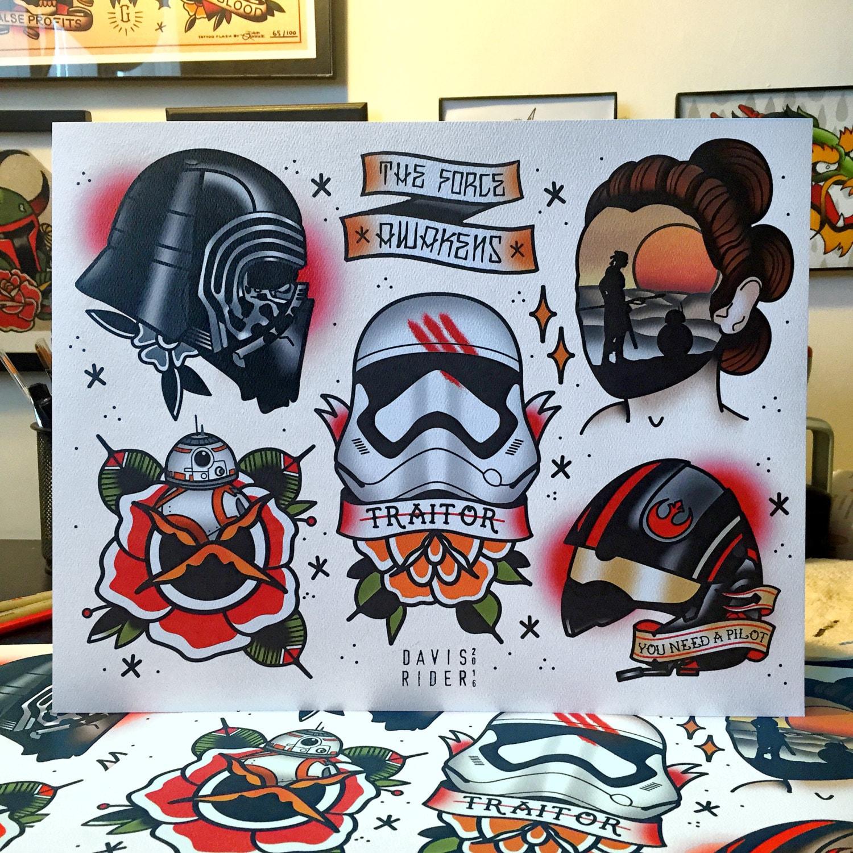 The Force Awakens Tattoo Flash Sheet