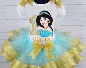 Jasmine Personalized Birthday Gold & Aqua Ribbon Tutu 3 Pc Set 1st, 2nd, 3rd, 4th, 5th, 6th