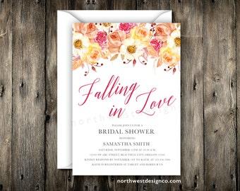 falling in love bridal shower invitation fall invitation autumn invite red orange pink yellow shower invite