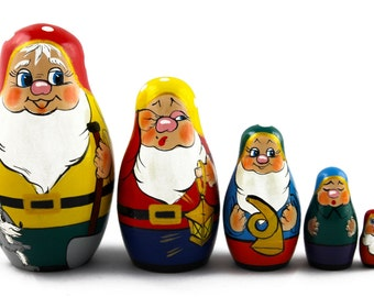 Matryoshka Matreshka Russian Nesting Doll Babushka Seven Gnomes Rūķis Set 5 Pieces