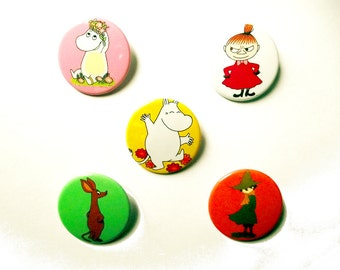Moomins Badges - Moomin Family Badges/Fridge Magnets - Moomintroll,Snorkmaiden,Snufkin, Sniff, Little My