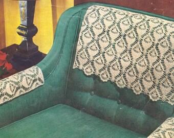 523 PDF Chair Set Crochet Pattern, Pineapple Design, Shell Stitch, Pineapple Doily Set, Table Doilies, Vintage 1950's, PDF Download