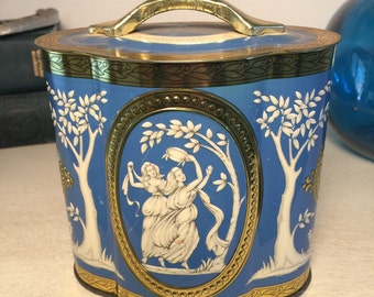 Vintage Murray Allen Tin Grecian Blue and White Victorian Shabby Chic