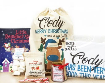 Personalised boy reindeer Christmas Eve treat gift bag | Pre -filled with Christmas goodies | Christmas eve box filler