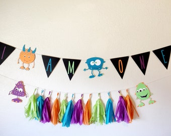 Little Monster Banner | Monster Banner | Monster Party | I am one banner | i am one | first birthday banner | first birthday | custom banner