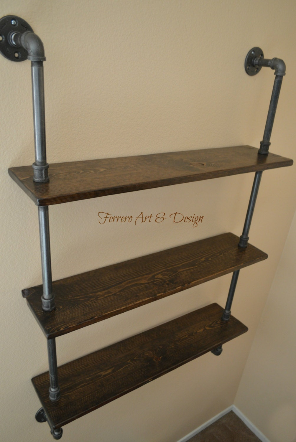 steampunk shelf industrial shelves wall by ferreroartdesign. Black Bedroom Furniture Sets. Home Design Ideas