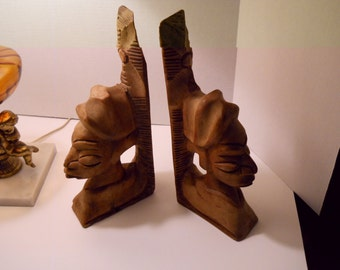 Vintage African Folk Art Wooden Hand Carved Bookends, African Art, Office Art