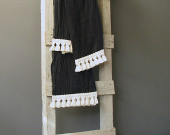 Black Oversized Pure Linen bath/beach towel, throw, bedspread with cotton fringe trimming. HANDMADE