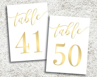 Printable Gold Wedding Table Numbers 41 - 50 | Instant Download | Printable Gold Table Numbers | Banquet | Anniversary Reception (FROST Set)