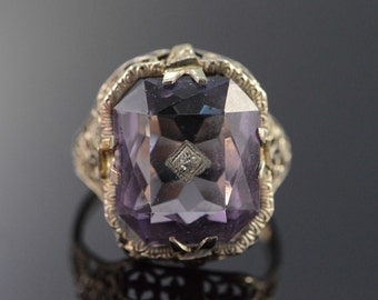 14K Antique Filigree 5 Ct Amethyst Ring Size 5.75 White Gold
