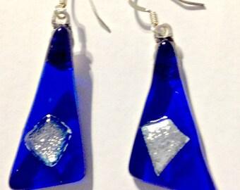 Delightful on Sale- Dichroic Fused Glass Earrings- Cobalt Blue-Dichroic Dangles Earrings-Sweet Gift-Handmade Dangles-Art Glass, Artisan Made