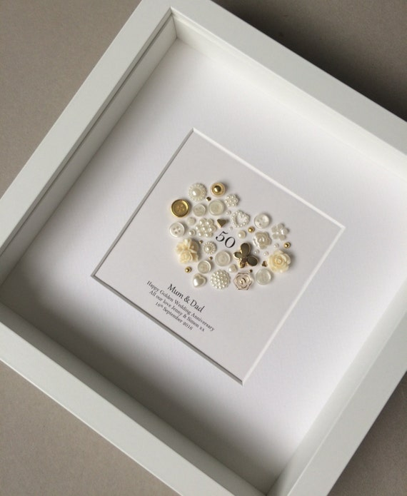Diy Wedding Anniversary Gifts: 50th Anniversary Gift Golden Anniversary Button Art