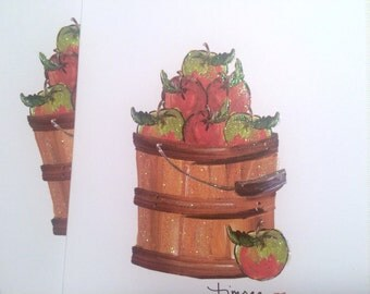 Timree Basket of Apples Glitter Notecards|Autumn Stationery-Apple Pie 6 pieces