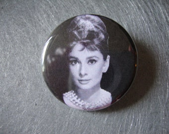 Audrey Hepburn Pinback or Magnet