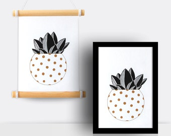 Cactus gold & black print (spotted pot, A5 print)