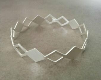 Silver Cuff Bracelet, Silver Cuff, Diamond Braclete, Silver Bangle, Wedding Jewellery, Bridal Jewelry, Gift For Her, By Hila Assa