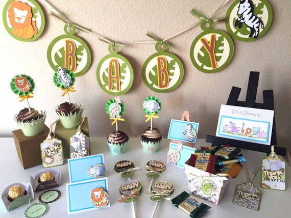 Safari baby shower package jungle themed decor by pinkskyshop for Baby shower decoration packages