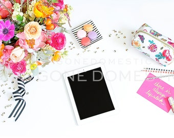 Colorful Styled Stock Photography Desktop With iPad Tablet Tech for Graphic Designers Gold Diamonds Flowers Stationery Mock Up