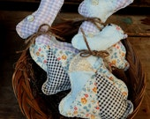 Calico Bunny Bowl Fillers, Easter Decoration, Primitive Shelf Sitters, Cupboard Tucks, Quilted Bunny, Spring Decor, Cottage Chic, Country