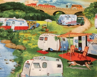 Retro themed camping cotton print