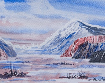 Wintery blues. Original watercolour painting.