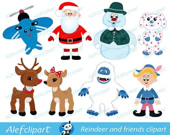50% OFF SALE Rendeer Rudolf and friends. Digital clipart.For personal use only.