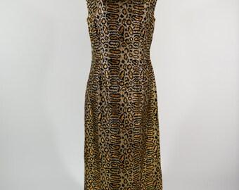 1960s Mod Leopard Print Dress - Larger Size