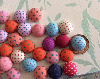 SET of 20 Mixed Color Flatback Polka Dots Fabric Covered Buttons Round Half Ball/trim/embellishments/sewing/scrapbooking/cards