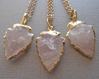 Rose Quartz Arrowhead Necklace / Gold Edged Arrowhead / Rose Quartz Arrow Necklace / Stone Pendant /Arrowhead Necklace/Rose Quartz//GR01