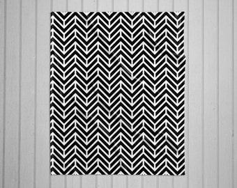 Chevron pattern modern plush throw blanket with white back