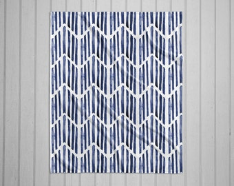 Indigo match stick tribal pattern modern plush throw blanket with white back