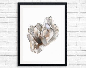 Smokey Quartz gem mineral printable art