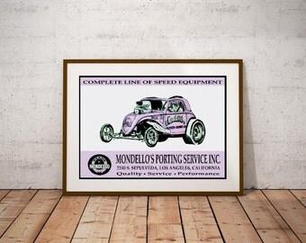 Mondello's Porting Service Tribute Poster – Fiat AA/FA NHRA Vintage Drag Racing