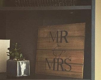 Mr. & Mrs. Wooden sign