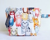 2 Skein Size Sturdy Cats on White Zip Project Bag with Handle for Knitting & Crafts