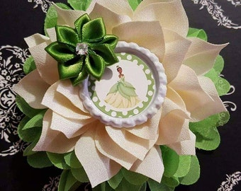 SALE!! 2 Styles Tiana Princess and the Frog Princess Double Flower Headbands/Clips/Barrettes