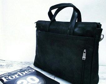 Black messenger bag. Leather messenger bag. Laptop bag. Men's leather bag. Men's messenger bag.