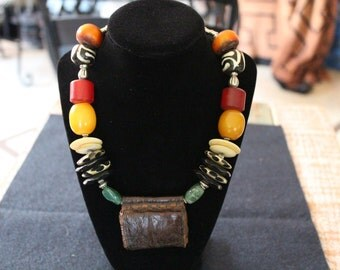 African Inspired necklace with ancient leather focal point