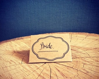 Name place card (Folded cardboard, pack of 20) Vintage wedding accessories