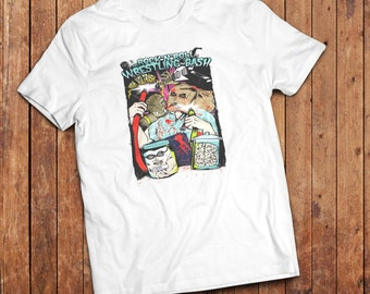 Rock n Roll Wrestling T-Shirt, Rockabilly, kustom art, pulp trash.