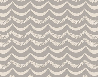 Simply Simple Silver LT-20034 < Littlest Collection by Art Gallery Fabrics < Fabric by the Yard > Grey Scallop Waves