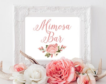 PRINTABLE Mimosa Bar Sign | Wedding Reception Mimosa Bar Print | Pink & White Wedding Decor | Pink Peony Sign INSTANT DOWNLOAD