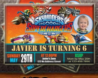 Skylanders Birthday Invitation, Skylanders Supercharger Invitation , Skylanders Invitation Party, Skylanders Invitation, Birthday Invitation