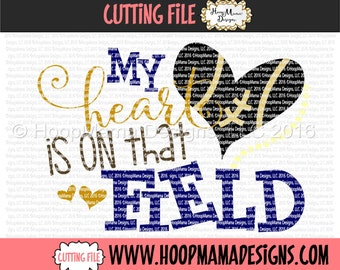 My Heart Is On That Field SVG DXF eps and png Files for Cutting Machines Cameo or Cricut Files Football Heart