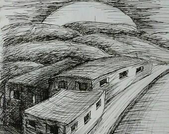 """No Doors, Pen & Ink Drawing, 7.5"""" x 8.5"""""""