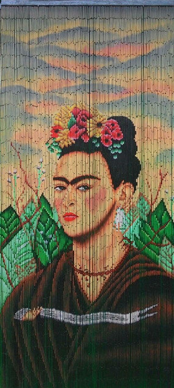 Hand painted bamboo beaded curtain frida2 by beadsofparadiseny for Hand painted bamboo beaded curtains